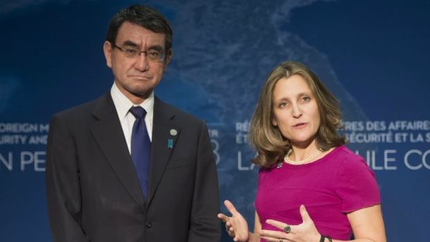 Minister of Foreign Affairs, Chrystia Freeland, right, and Minister of Foreign Affairs of Japan Taro Kono meet during the meeting on Security and Stability on the Korean Peninsula in Vancouver, B.C., Monday, Jan. 15, 2018. (Jonathan Hayward / THE CANADIAN PRESS)