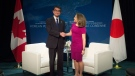 Minister of Foreign Affairs, Chrystia Freeland, right, and Minister of Foreign Affairs of Japan Taro Kono meet during the meeting on Security and Stability on the Korean Peninsula in Vancouver, B.C., Monday, Jan. 15, 2018. THE CANADIAN PRESS/Jonathan Hayward