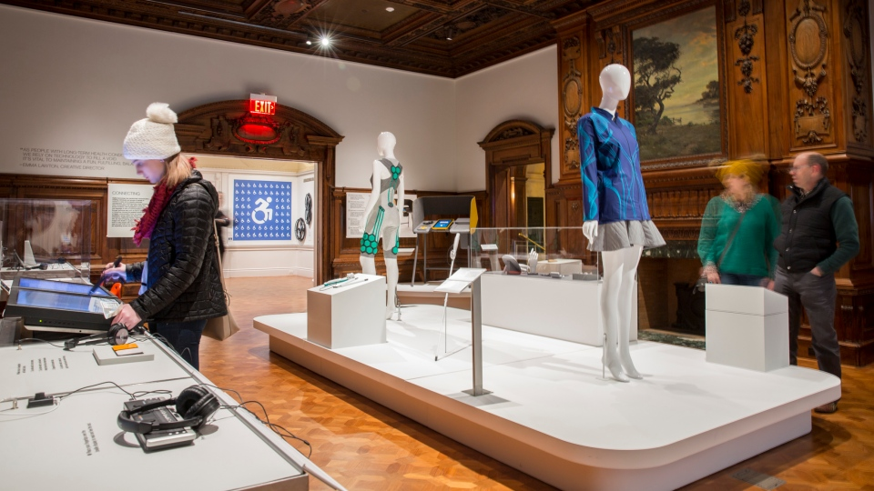"""This Dec. 15, 2017 photo provided by the Cooper Hewitt, Smithsonian Design Museum, shows an Installation view of """"Access+Ability."""" (Chris J. Gauthier/Cooper Hewitt, Smithsonian Design Museum via AP)"""
