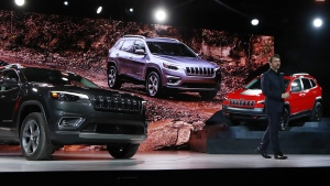 Mike Manley, head of the Jeep brand, introduces the new 2019 Jeep Cherokee during the North American International Auto Show, on Jan. 16, 2018. (Carlos Osorio / AP)
