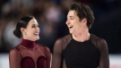 Tessa Virtue and Scott Moir skate off the ice after performing their free dance during the senior ice dance competition at the Canadian Figure Skating Championships in Vancouver, B.C., on Saturday January 13, 2018. Virtue and Moir will carry Canada's flag into the opening ceremony at next month's Winter Games in South Korea. THE CANADIAN PRESS/Jonathan Hayward