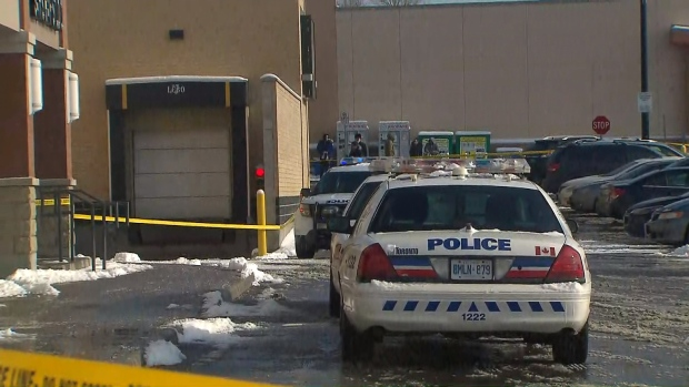 The scene outside a plaza at Keele and Lawrence avenues where a newborn baby was found abandoned in below freezing temperatures.