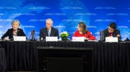 Japan Foreign Affairs Minister Taro Kono, right to left, Minister of Foreign Affairs Chrystia Freeland and Secretary of State of the United States Rex Tillerson listen as Korean Foreign Affairs Minister Kang Kyung-wha speaks during the meeting on Security and Stability on the Korean Peninsula in Vancouver, B.C., Tuesday, Jan. 16, 2018. THE CANADIAN PRESS/Jonathan Hayward