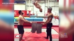 Gymnast from U.K. gets dressed in bizarre way