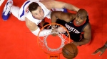 Los Angeles Clippers forward Blake Griffin, left, and Houston Rockets guard Chris Paul wait for a rebound during the second half of an NBA basketball game, Monday, Jan. 15, 2018, in Los Angeles. (AP Photo/Mark J. Terrill)
