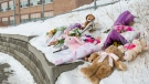 A memorial at a school in north Toronto is shown on Tuesday, January 16, 2018. Grief counsellors were at a north Toronto school Tuesday to help students and staff cope with the news that a five-year-old girl had died after being pinned between two SUVs. THE CANADIAN PRESS/Christopher Katsarov