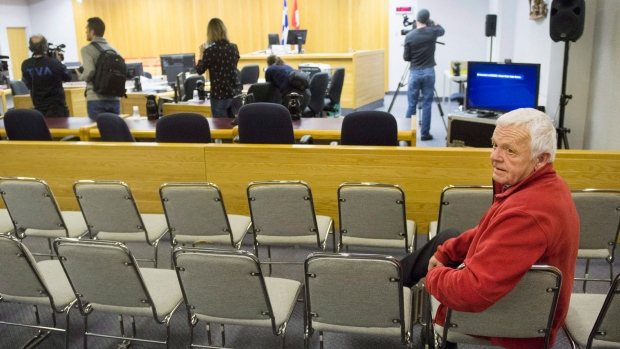 Jean Clusiault, father of victim Kathy Clusiault, looks on as media are given an opportunity to shoot the courtroom as the jury deliberates for the fourth day Sunday, January 14, 2018 in Sherbrooke, Que. THE CANADIAN PRESS/Ryan Remiorz