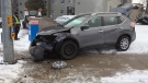 An SUV hit a pole at Westmount Road and Queen's Boulevard in Kitchener on Tuesday, Jan. 16, 2018. (Dan Lauckner / CTV Kitchener)