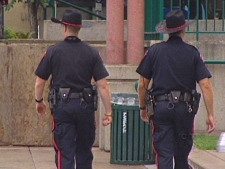Police walk the downtown beat