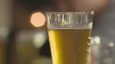 shot of a glass of beer