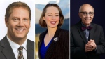Alberta Party leadership candidates, from left to right: Rick Fraser, Kara Levis and Stephen Mandel.