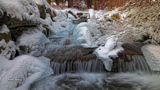 Ice build up around the falls in Cornwall, Ont.  (Ban Ly/CTV Viewer)