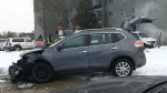 SUV loses control, hops curb and hits pole