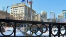 The Olympic rings remain on display at Olympic Plaza as part of the legacy of the 1988 Winter Olympic Games