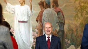President Russell M. Nelson arrives at a news conference announcing his new leadership in the wake of the death of President Thomas S. Monson Tuesday, Jan. 16, 2018, in Salt Lake City. (Rick Bowmer/AP Photo)