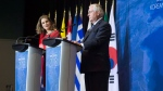 Minister of Foreign Affairs, Chrystia Freeland and Secretary of State of the United States, Rex Tillerson address a news conference following a meeting on the Security and Stability on the Korean Peninsula in Vancouver, B.C., Tuesday, Jan. 16, 2018. THE CANADIAN PRESS/Jonathan Hayward