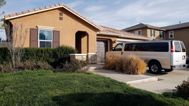 This photo shows the exterior of the home where police arrested a couple accused of holding their 13 children captive, in Perris, Calif., Tuesday, Jan. 16, 2018. (AP / Alex Gallardo)