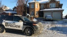 A Halton Regional Police cruiser parked outside a home in Oakville where police say they were called to for a 'weapons-related' incident on Jan. 17, 2018. (Christopher Williams/CTV News Toronto)
