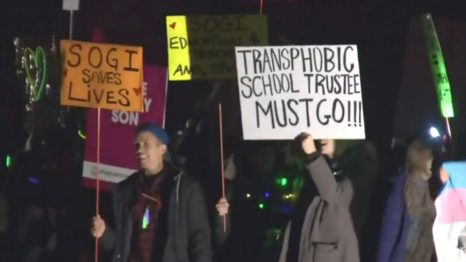 Ahead of the meeting, dozens of parents gathered to wave rainbow flags and placards. (CTV Vancouver)