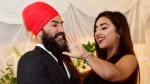 NDP Leader Jagmeet Singh proposes to Gurkiran Kaur at an engagement party in Toronto, Tuesday January 16, 2018. THE CANADIAN PRESS/Frank Gunn