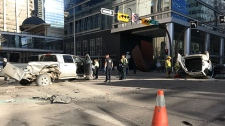 CPS members at the scene of Wednesday morning's serious crash in the intersection of 9th Avenue and 2nd Street S.W.