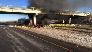 RCMP released a photo of the aftermath on the QE2 at Hwy 616 - after a semi-tractor trailer went off the road, hit a support structure on the bridge and then caught fire. Supplied.