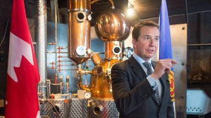Treasury Board President Scott Brison announces government funding to assist Ironworks Distillery Inc. as they expand their micro-distillery in Lunenburg, N.S. on Wednesday, Jan.17, 2018. (THE CANADIAN PRESS / Andrew Vaughan)