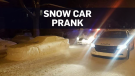 Man pranks authorities with car made of snow