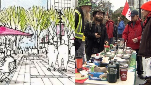 The proposed sketch of what Robson Square was supposed to look like, and some of the pot vendors who now occupy the area daily. (CTV)