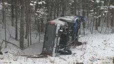 truck in ditch