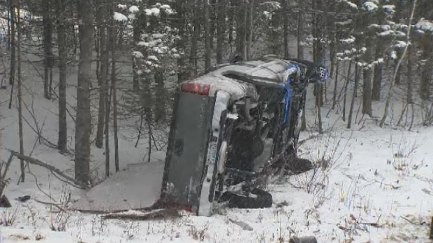 Emergency crews responded to the scene of a truck that left Highway 118 and landed in a ditch in Halifax on Wednesday, Jan. 17, 2018.