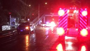 A pedestrian was struck on Craigflower Road near Shoreline Middle School Wednesday. Jan. 17, 2018. (CTV Vancouver Island)