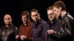 Members of the band The Barenaked Ladies Tyler Stewart, Kevin Hearn, Ed Robertson, Steven Page, and Jim Creeggan read the nominees for the 2002 Juno Awards at a press conference in Toronto on February 11, 2002. THE CANADIAN PRESS/Aaron Harris