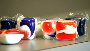 Tide pod detergent are seen in this image taken from video.