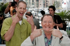 American director Peter Docter, left, and Vice President of Pixar, John Lasseter, pose at the photo call for the animated film 'Up' during the 62nd International film festival in Cannes, southern France, Wednesday, May 13, 2009. (AP / Lionel Cironneau)