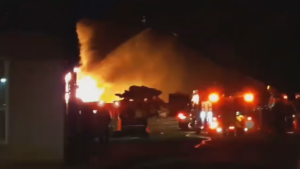 Fire at a steel distributor in Weyburn, Sask. on Jan. 17, 2018. (CREDIT: DISCOVER WEYBURN)