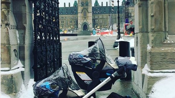 NDP MP and new mom Niki Ashton's stroller with her twins made a visit to Parliament Hill recently as she prepares to go back to work. (Niki Ashton / Twitter)