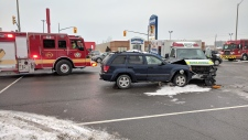 An ambulance and SUV collided on Hespeler Road Tuesday Jan. 18, 2018.
