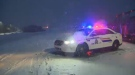 The RCMP respond to the scene of a two-vehicle collision on Highway 107 in Head of Chezzetcook, N.S. on Jan. 17, 2018.