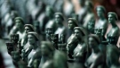 In this Jan. 9, 2018 file photo, Actor statuettes are pictured at the American Fine Arts Foundry in Burbank, Calif., in preparation for the SAG Awards which will be held on Sunday, Jan. 21 in Los Angeles. (Chris Pizzello/Invision/AP, File)