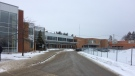 Innisdale Secondary School is locked down in Barrie, Ont. on Thursday, Jan. 18, 2018. (Dave Erskine/ CTV Barrie)