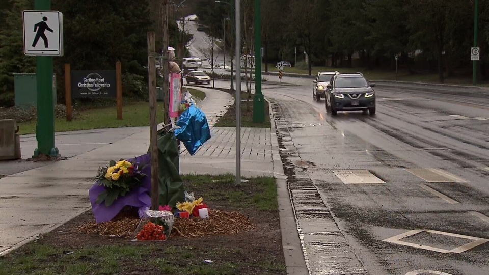 A memorial for 15-year-old Fernanda Girotto who was fatally struck by a vehicle in Burnaby, is seen on Thursday, Jan. 18, 2018.