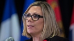 Manitoba Environment Minister Rochelle Squires responds to a question during a news conference after a Canadian Council of Ministers of the Environment meeting in Vancouver on Friday, November 3, 2017. (THE CANADIAN PRESS / Darryl Dyck)