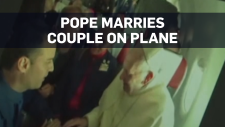 Pope marries couple during flight