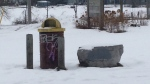 Graffiti can be seen in Orillia, Ont. on Thursday, Jan. 18, 2018. (Rob Cooper/ CTV Barrie)