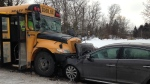 A school bus and car collided head-on in New Dundee Jan. 18, 2018.