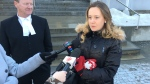 Carolyn Strom outside Court of Queen's Bench on Jan. 18, 2018 (Chad Hills/CTV Saskatoon).