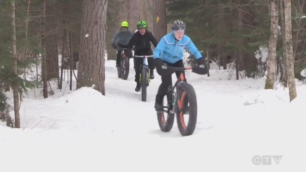"""""""Fat bike"""" riders use big wheels for use on snow"""