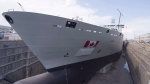 The Resolve-Class naval support ship Asterix is unveiled at a ceremony at the Davie shipyard in Levis, Que., on Thursday, July 20, 2017. (Jacques Boissinot/THE CANADIAN PRESS)