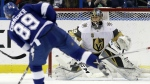 Vegas Golden Knights goaltender Marc-Andre Fleury eyes a shot by Tampa Bay Lightning center Cory Conacher (89) during the third period of an NHL hockey game in Tampa, Fla. on Thursday, Jan. 18, 2018. (AP Photo/Chris O'Meara)